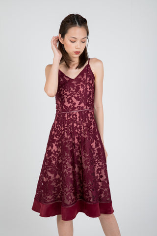 Cher Organza Lace Satin Skater in Wine