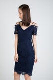 Faye Offshouler Crochet Lace Midi in Navy