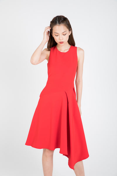 Maileen Side Fold Skater In Red
