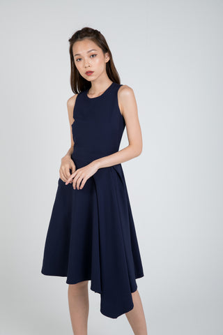 Maileen Side Fold Skater In Navy