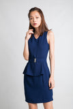 Delco V Neck Peplum Dress in Navy