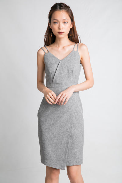 Sweet-heart Double Straps Midi in Heather Grey