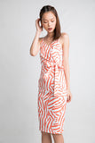 Eileen Tie Wrap Midi in Stripes