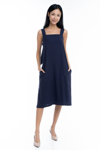 Faye Tie Back Dress in Navy