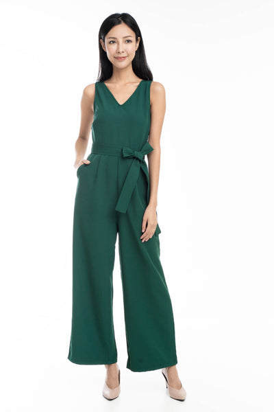 Sandra V Neck Sash Jumper In Green