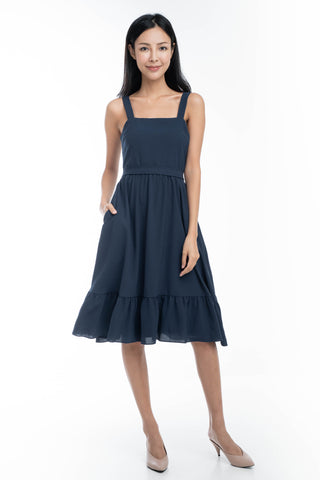 Cara Ruffle Hem Skater Dress in Blue