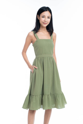 Cara Ruffle Hem Skater Dress in Moss Green