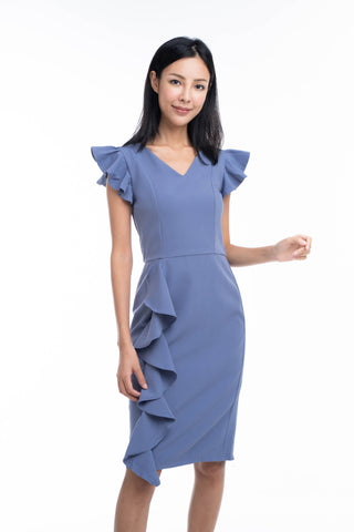 Loise Pleated Ruffle Midi Dress in Blue