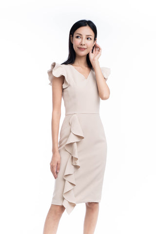 Loise Pleated Ruffle Midi Dress in Cream