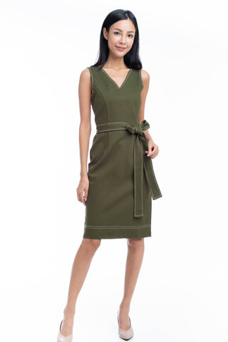Gloria Stitch Detail Midi in Olive