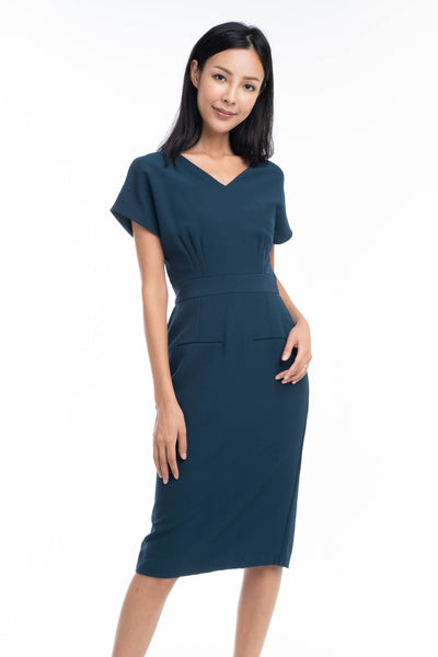 Maggie Pleated Front Waist Band Midi Dress in Green