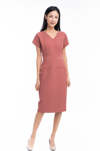 Maggie Pleated Front Waist Band Midi Dress in Rust