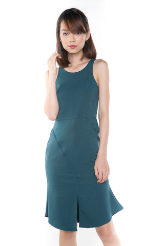 Jannas Flute Hem Split Midi In Sea Green - Mint Ooak - Dress - 1