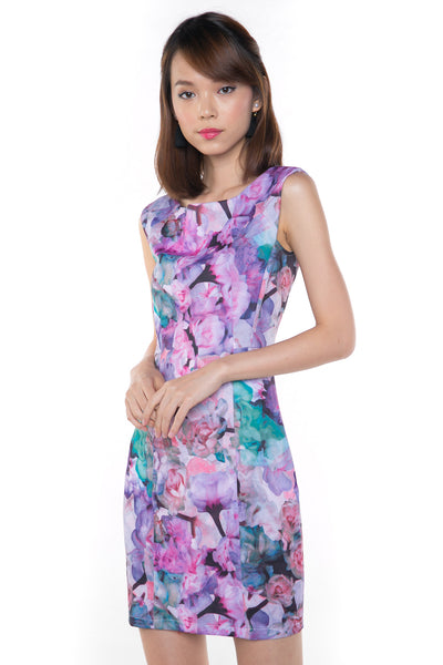 Sally Digital Print Cap-Sleeved Dress In Purple - Mint Ooak - Dress, - 1