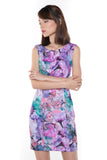 Sally Digital Print Cap-Sleeved Dress In Purple - Mint Ooak - Dress, - 2