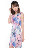 Sally Digital Print Cap-Sleeved Dress In Pink - Mint Ooak - Dress - 1