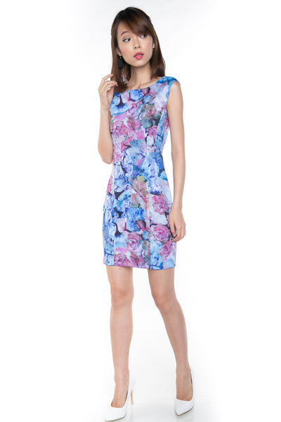 Sally Digital Print Cap-Sleeved Dress In Blue - Mint Ooak - Dress - 1