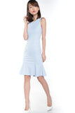 Sarah Mermaid Hem Embossed Dress In Blue - Mint Ooak - Dress - 5