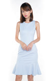 Sarah Mermaid Hem Embossed Dress In Blue - Mint Ooak - Dress - 1