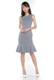Sarah Mermaid Hem Embossed Dress In Grey - Mint Ooak - Dress - 1