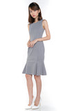 Sarah Mermaid Hem Embossed Dress In Grey - Mint Ooak - Dress - 2