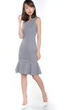 Sarah Mermaid Hem Embossed Dress In Grey - Mint Ooak - Dress - 3
