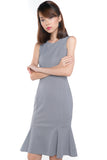 Sarah Mermaid Hem Embossed Dress In Grey - Mint Ooak - Dress - 4