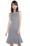 Sarah Mermaid Hem Embossed Dress In Grey - Mint Ooak - Dress - 5