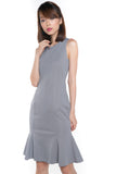 Sarah Mermaid Hem Embossed Dress In Grey - Mint Ooak - Dress - 6