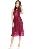 Christina Crochet Lace Midi in Wine