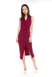 Ally Tux Button Midi in Wine