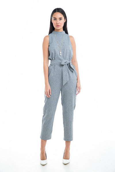Nellie High-Neck Jumpsuit - Mint Ooak - Jumpsuit, Romper, Grey, high-neck - 1