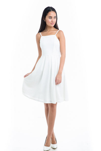 Vivienne Embossed Stripes Midi in white - Mint Ooak - Dress - 1
