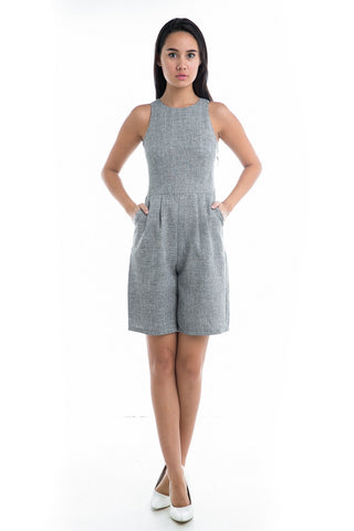 Talia Textured Grey Romper - Mint Ooak - Romper, One Piece, Playsuit - 1