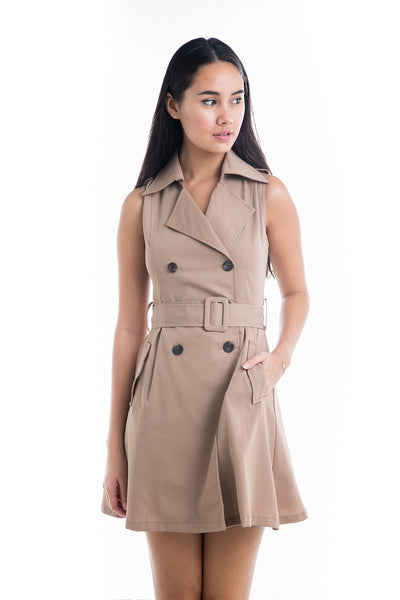 Ester Trench Dress in Khaki - Mint Ooak - Dress - 1