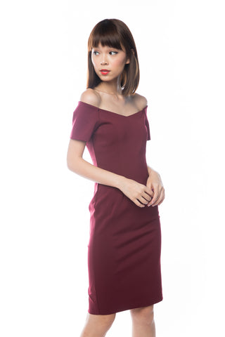 Rai Off Shoulder Midi In Wine - Mint Ooak - Dress - 1