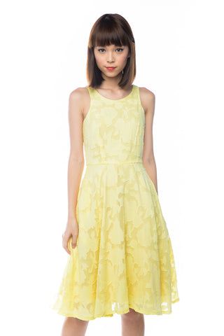 Natellie Cloud Midi Skater in Yellow - Mint Ooak - Dress - 1