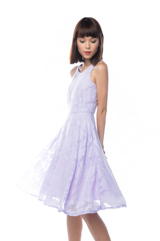 Natellie Cloud Midi Skater in Lilac - Mint Ooak - Dress - 1