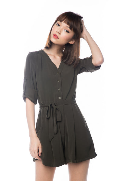 Talor Button Sleeved Romper In Olive - Mint Ooak - Playsuit - 1