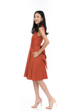Janae Wrap Tie Skater in Burnt Orange