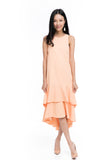 Gabby Layer Dip Hem Dress in Peach