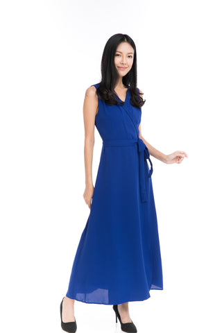 Aubrey Tux Maxi Dress in Blue