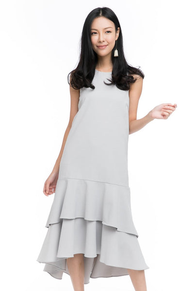 Gabby Layer Dip Hem Dress in Grey