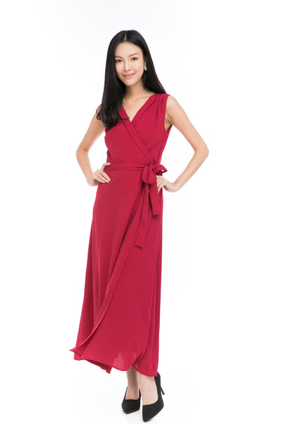 Aubrey Tux Maxi Dress in Red