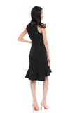 Julyne Tiered Fluted Hem Midi in Black