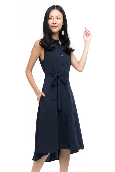 Harley Shirt Dip Hem Midi in Navy
