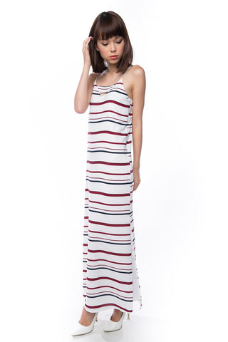 Clara Nautical Stripe Maxi in White - Mint Ooak - Dress - 1