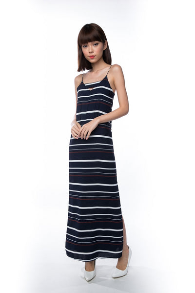 Clara Nautical Stripe Maxi in Navy - Mint Ooak - Dress - 1