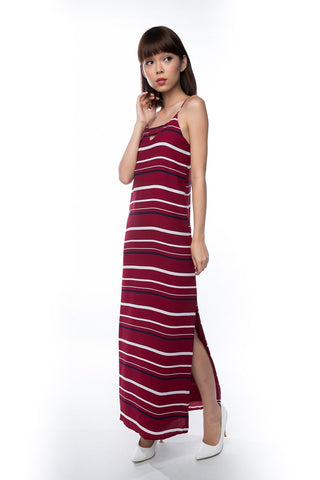 Clara Nautical Stripe Maxi in Maroon - Mint Ooak - Dress - 1