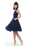 Leah Pine Stripe Full Circle Midi in Navy - Mint Ooak - Dress - 5